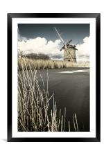Brograve Mill by a frozen river, Framed Mounted Print