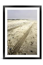 Tracks in the sand, Framed Mounted Print