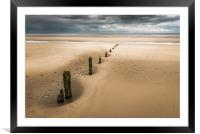 Brancaster Beach with stumps, Framed Mounted Print