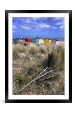 Beach huts through the dunes , Southwold, Framed Mounted Print