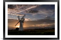 Sunset at Thurne Mill, Framed Mounted Print