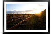 Railway at Sunset, Framed Mounted Print