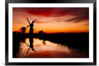 Spring Sunset at Thurne Mill, Framed Mounted Print