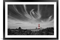 Wispy Clouds Above Happisburgh Lighthouse Selectiv, Framed Mounted Print