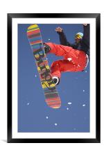 Snowboard jumping on Vogel mountain, Framed Mounted Print