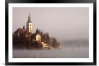 Misty Lake Bled, Framed Mounted Print