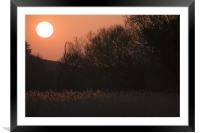 Sunset in Chilbolten, Hampshire, England., Framed Mounted Print