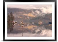 Morning reflections of Loch Ness, Framed Mounted Print