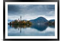 Autumn colours at Lake Bled, Framed Mounted Print