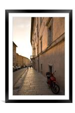 Moped in street at sundown in Assisi, Italy, Framed Mounted Print