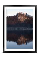 View across Lake Bled, Framed Mounted Print