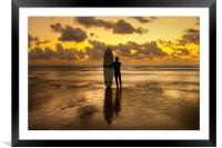Perranporth beach with Lone surfer at sunset, Framed Mounted Print