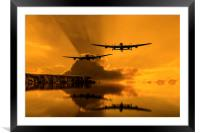 Lancasters and Sun Rays, Framed Mounted Print