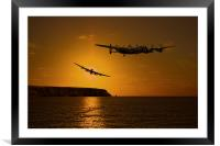 Lancaster over the Cornish Coast, Framed Mounted Print