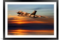 Vulcan bomber sunset finale , Framed Mounted Print