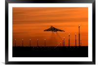 Vulcan Bomber sunset take off, Framed Mounted Print