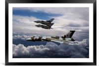 Vulcan Bomber XH558 and Tornados, Framed Mounted Print