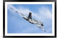 Vulcan and wispy clouds at Duxford, Framed Mounted Print
