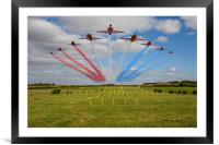 Red Arrows running in at Brize, Framed Mounted Print