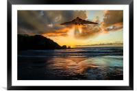 Vulcan Bomber Cornwall sunset, Framed Mounted Print
