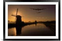 Lancaster bombers and Dutch windmills, Framed Mounted Print