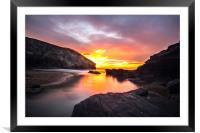 Trebarwith Strand Sunset Cornwall, Framed Mounted Print