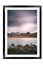 Clouds over Blea Tarn with Langdale Pikes beyond., Framed Mounted Print