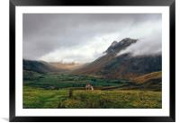 Langdale Valley and Langdale Pikes in cloud., Framed Mounted Print