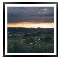 Distant windfarm at sunset. , Framed Mounted Print