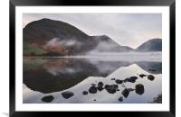 Reflections and fog at sunrise. Brothers Water, Cu, Framed Mounted Print