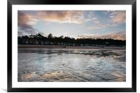 Sunset sky and beach huts reflected in a water at , Framed Mounted Print