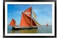 Thames Barge Edme watercolour effect, Framed Mounted Print