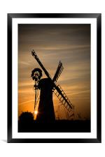 Summer Evening at thurne windmill, Framed Mounted Print