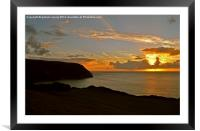 Woody Bay Sunset , Framed Mounted Print