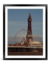 Blackpool Tower and Big Wheel, Framed Mounted Print