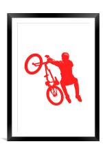 BMX in Red, Framed Mounted Print
