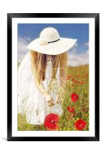 Gathering a posy, Framed Mounted Print