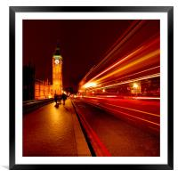 London Bus to Big Ben, Framed Mounted Print
