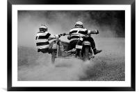 Sidecar scramble racing B&W version, Framed Mounted Print