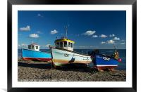 Fishing boats beached at Beer, Framed Mounted Print