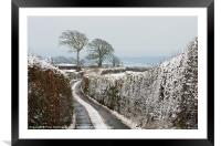 Hill top lane in snow, Framed Mounted Print
