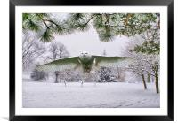 Snowy Owl In Winter Wonderland, Framed Mounted Print