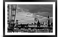 Westminster, black and white, Framed Mounted Print