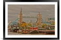 Tower of London Barges, Framed Mounted Print