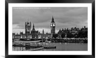 Westminster, Houses of Parliament BW, Framed Mounted Print