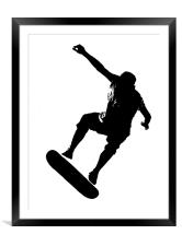 Skateboarder on White, Framed Mounted Print