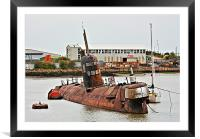Russian Submarine in River Medway HDR, Framed Mounted Print
