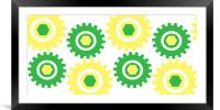 Retro Cogs Yellow & Green, Framed Mounted Print