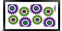 Retro Cogs Purple & Green, Framed Mounted Print