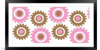 Retro Cogs Pink & Brown, Framed Mounted Print